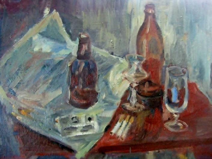 Bierflasche, Zeitung und Zigaretten - 1998