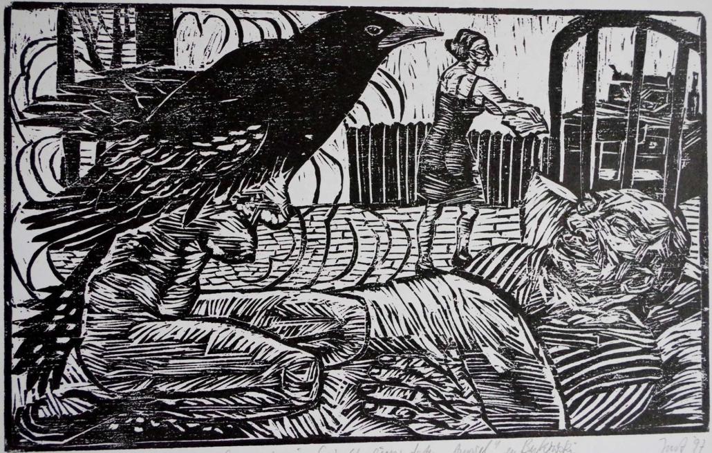 1997 - Gespenst in Gestalt einer toten Amsel - 18,5 x 30