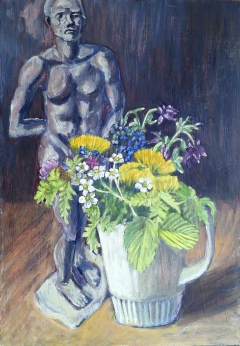 Bumenstrauß mit Skulptur - 2007 - 50 x 35