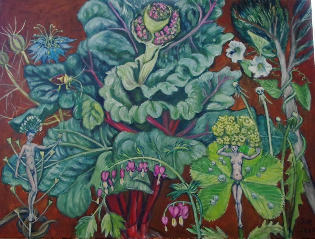 Fantasie mit Rhabarberblüte - 2017 - 50 x 60