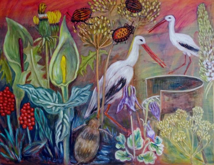 Fantasie mit Störchen - 2015 - 60 x 80