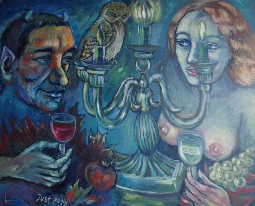 Faun, Nymphe und Leuchter - 2014 - 68 x 86
