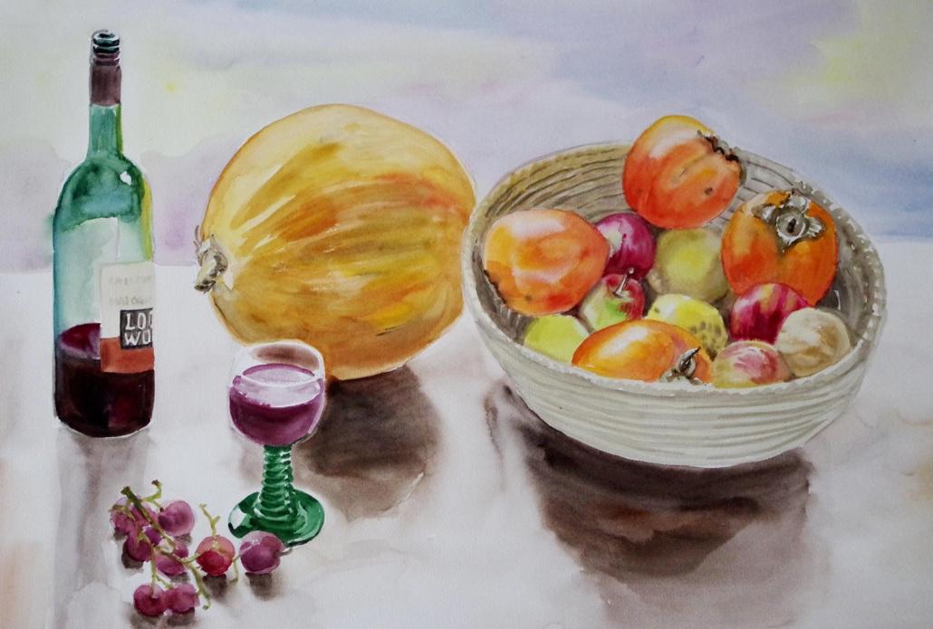 Früchtekorb mit Weinflasche - 2015 - 47 x 63