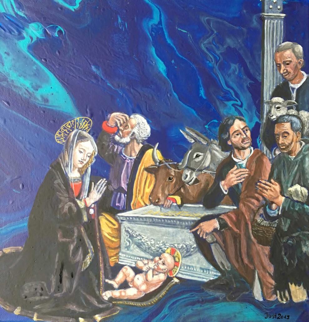 Heilige Familie mit Hirten nach Ghirlandaio 2019