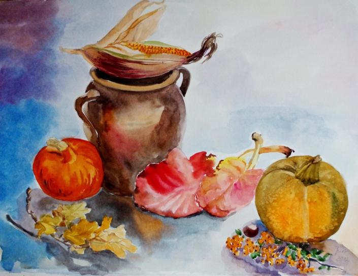 Herbststilleben mit Kürbissen - 2012 - 49 x 63