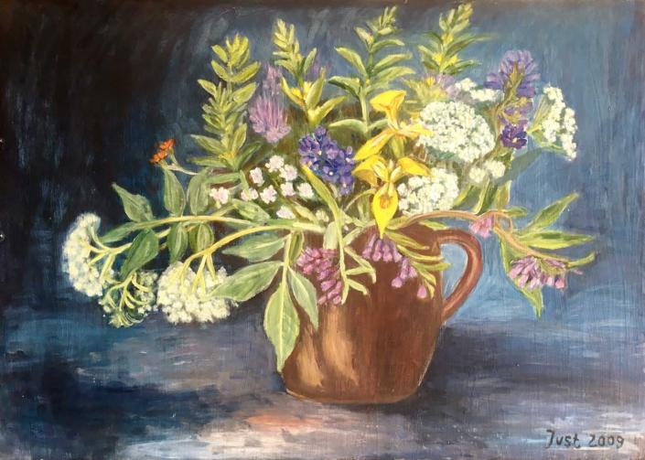 Holunderblüten und Wasserlilien - 2007 - 50 x 70