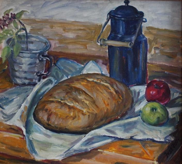 Kanne, Brot und Äpfel - 2004 - 47 x 53