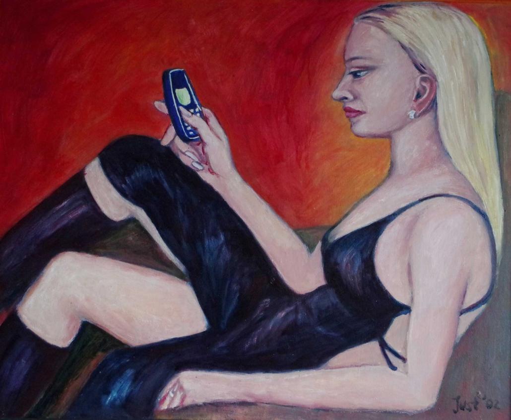 Kerstin mit Handy - 2002 - 65 x 80