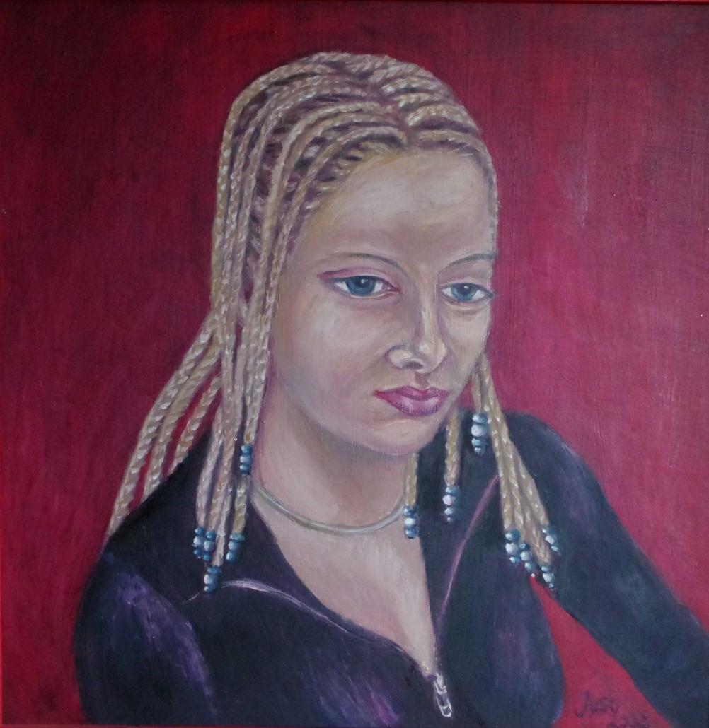 Kerstin mit Rastazöpfen - 2002 - 70 x 70