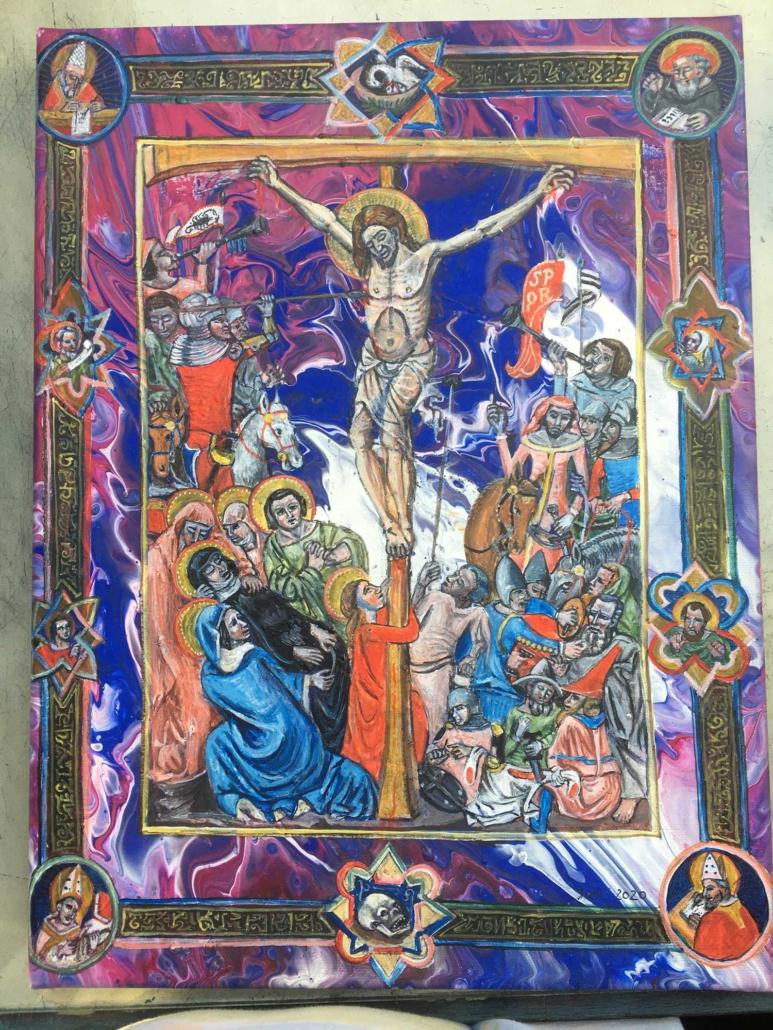Kreuzigung nach mittelalterlicher Buchmalerei