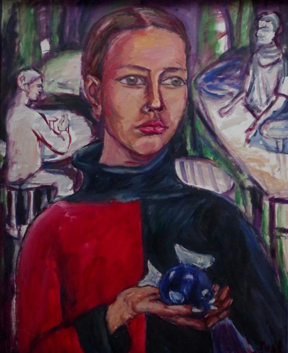 Mädchen mit blauem Fisch - 2002 - 80 x 65