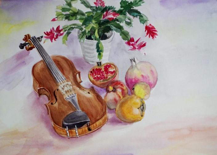Stilleben mit Geige - 2015 - 48 x 63,5