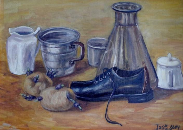 Stilleben mit Schuh und keimender Kartoffel - 2004 - 42 x 58