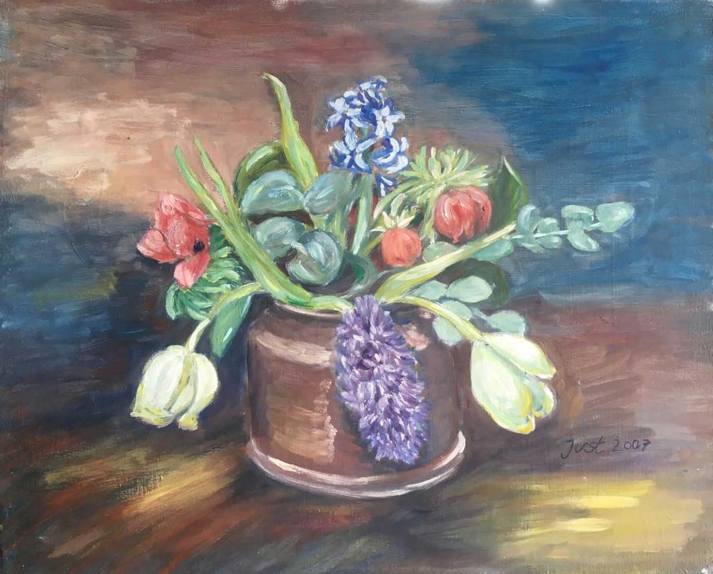 Strauß mit Tulpen und Hyazinthen - 2007 - 50 x 61,5