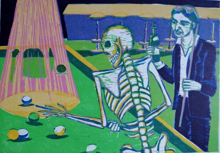 Totenzyklus - 2003 - Billardspielende Tod - 30 x 40