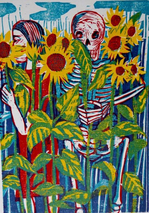 Totenzyklus - 2003 - Tod im Sonnenblumenfeld - 30 x 21
