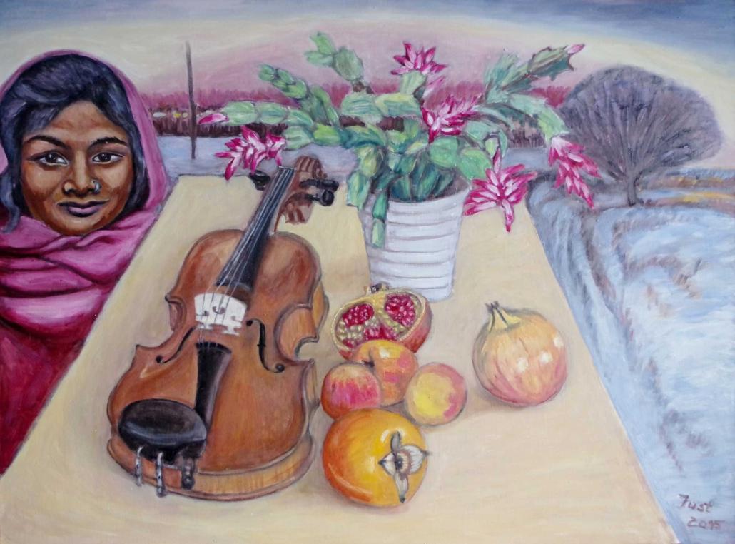 Winterfantasie mit Geige - 2015 - 60 x 80