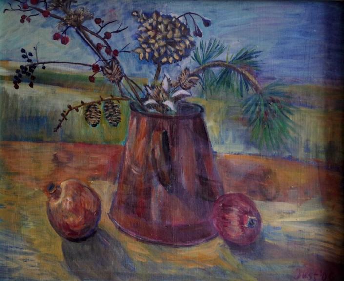 Winterstrauß mit Granatäpfeln - 2006 - 50 x 60